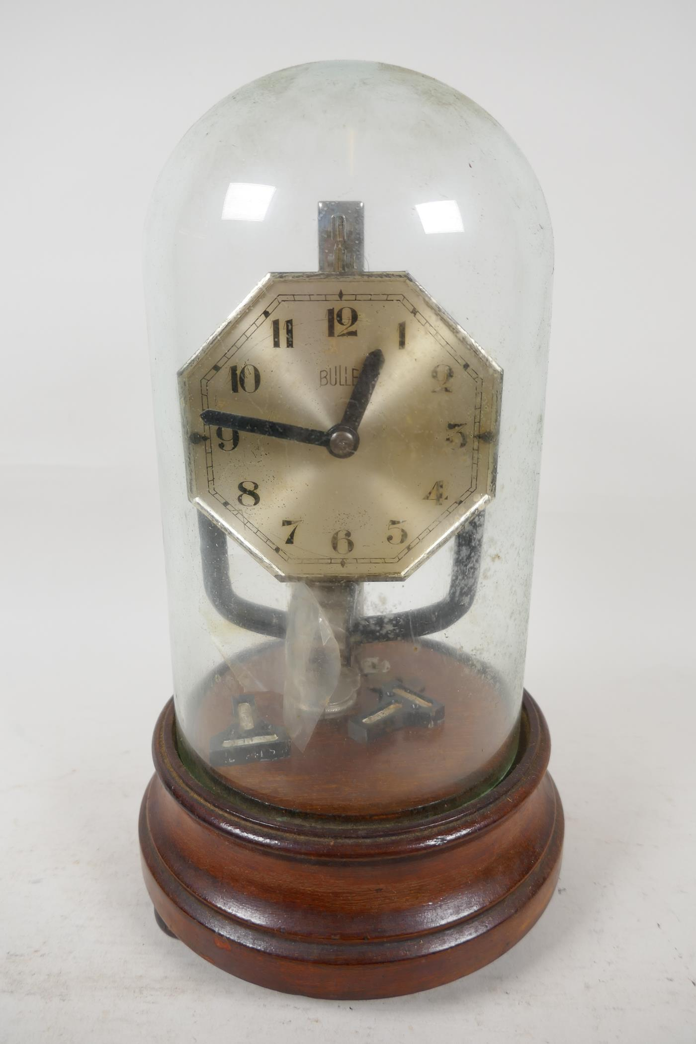 """A Bulle electric mantel clock under glass dome, 10½"""" high - Image 4 of 4"""
