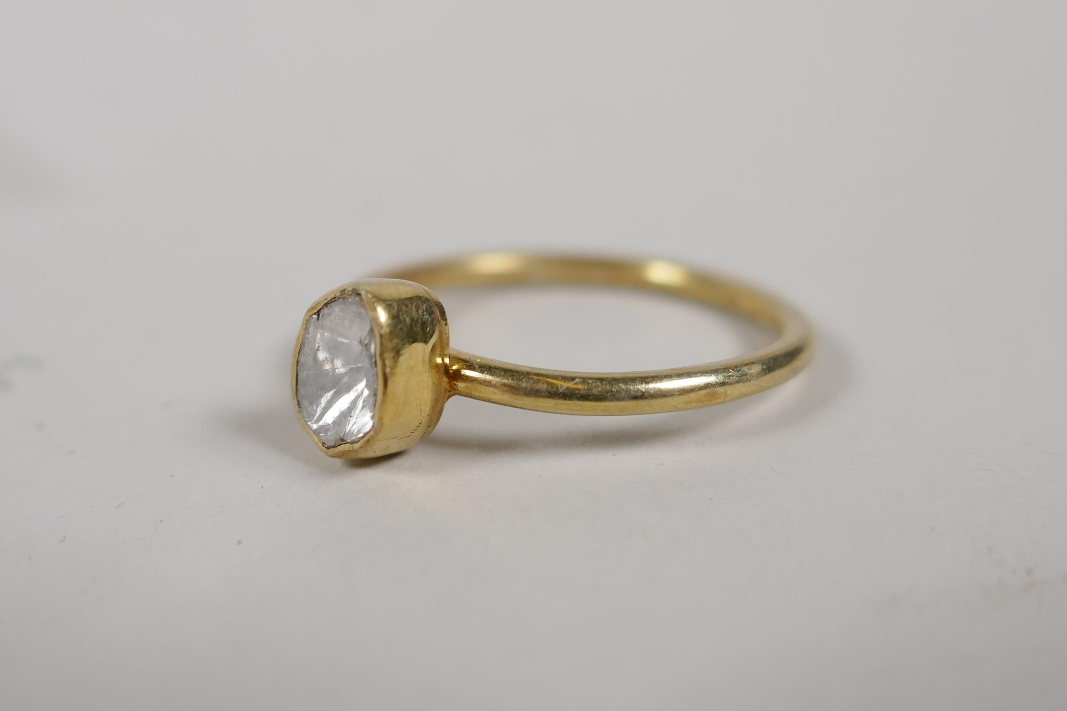 A silver gilt uncut diamond solitaire ring, size 'P' - Image 2 of 2