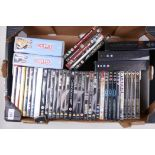 A box of DVDs including Game of Thrones series I and II, Spider Man 2 gift set, Star Wars, James