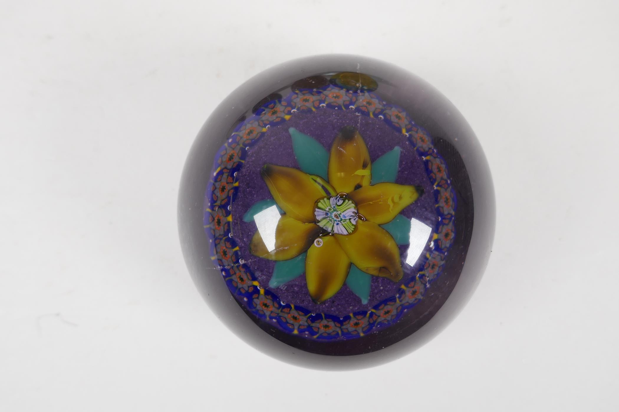 A 1930s Scottish floral glass paperweight by Salvador Ysart, a Caithness yellow carnation glass - Image 2 of 7