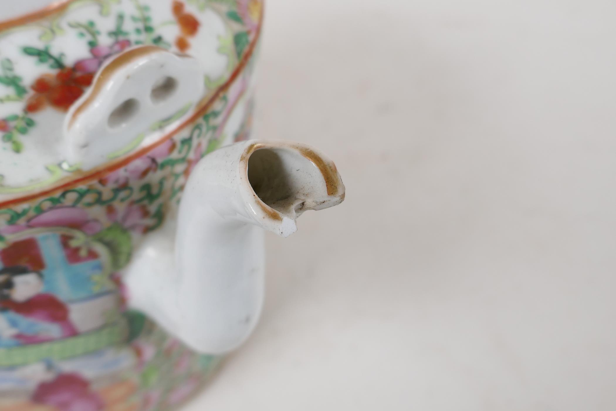 A Cantonese famille rose teapot decorated with figures, birds and flowers, A/F, and a republic - Image 7 of 7