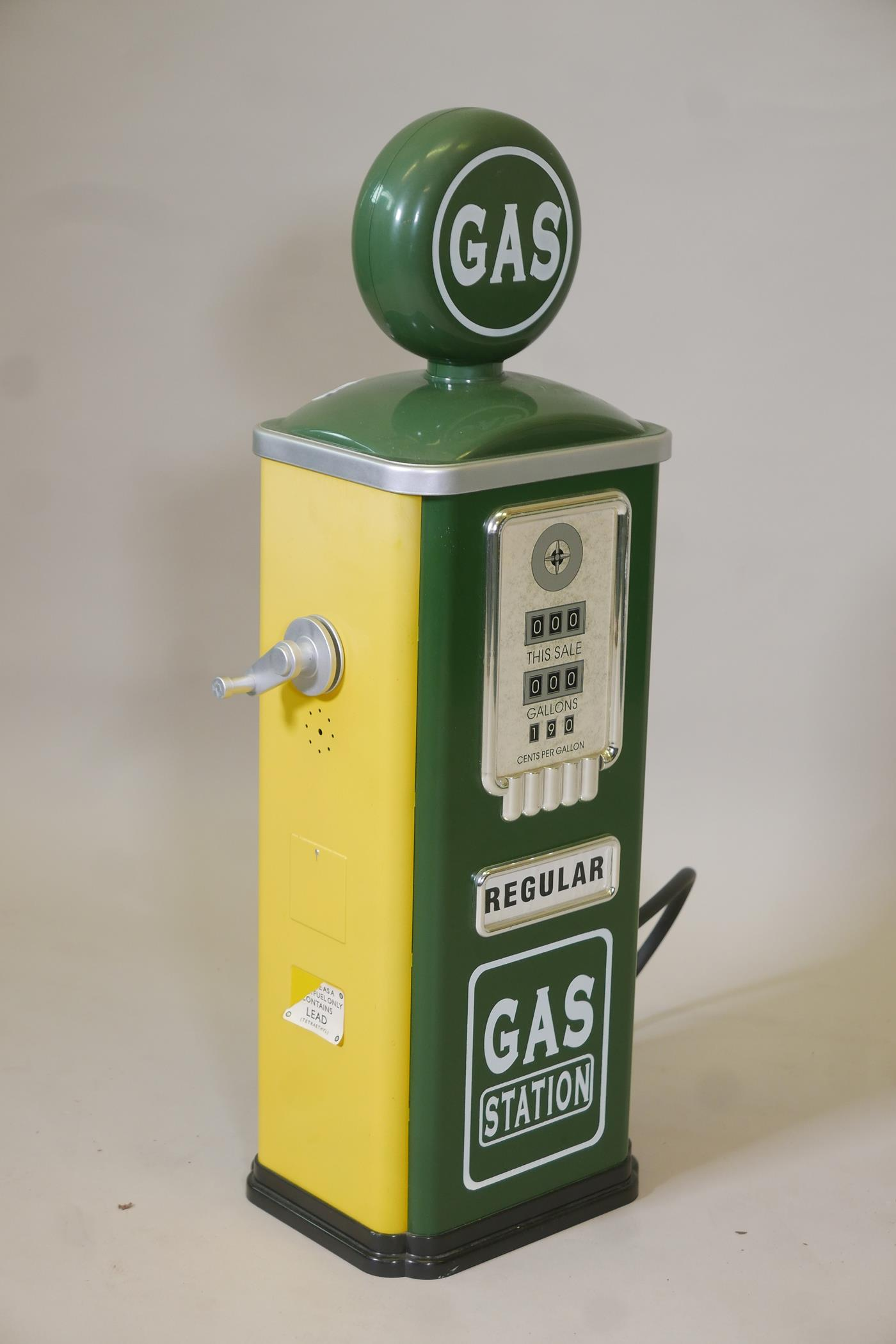 """A child's 'gas' pump in racing green and yellow, 31½"""" high - Image 2 of 3"""