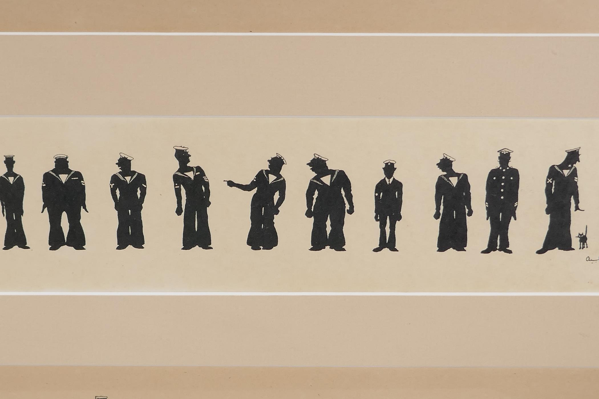 A.M. Hughes, three silhouette prints of naval life, Grog, Defaulters and Sunday Rounds, mounted in a - Image 6 of 9