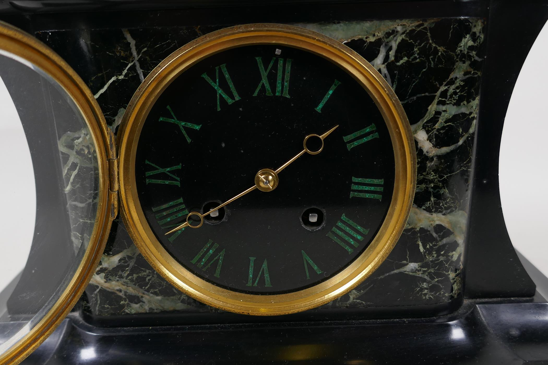 A C19th French vert de mer marble and slate mantel clock with inset malachite Roman numerals, the - Image 3 of 5