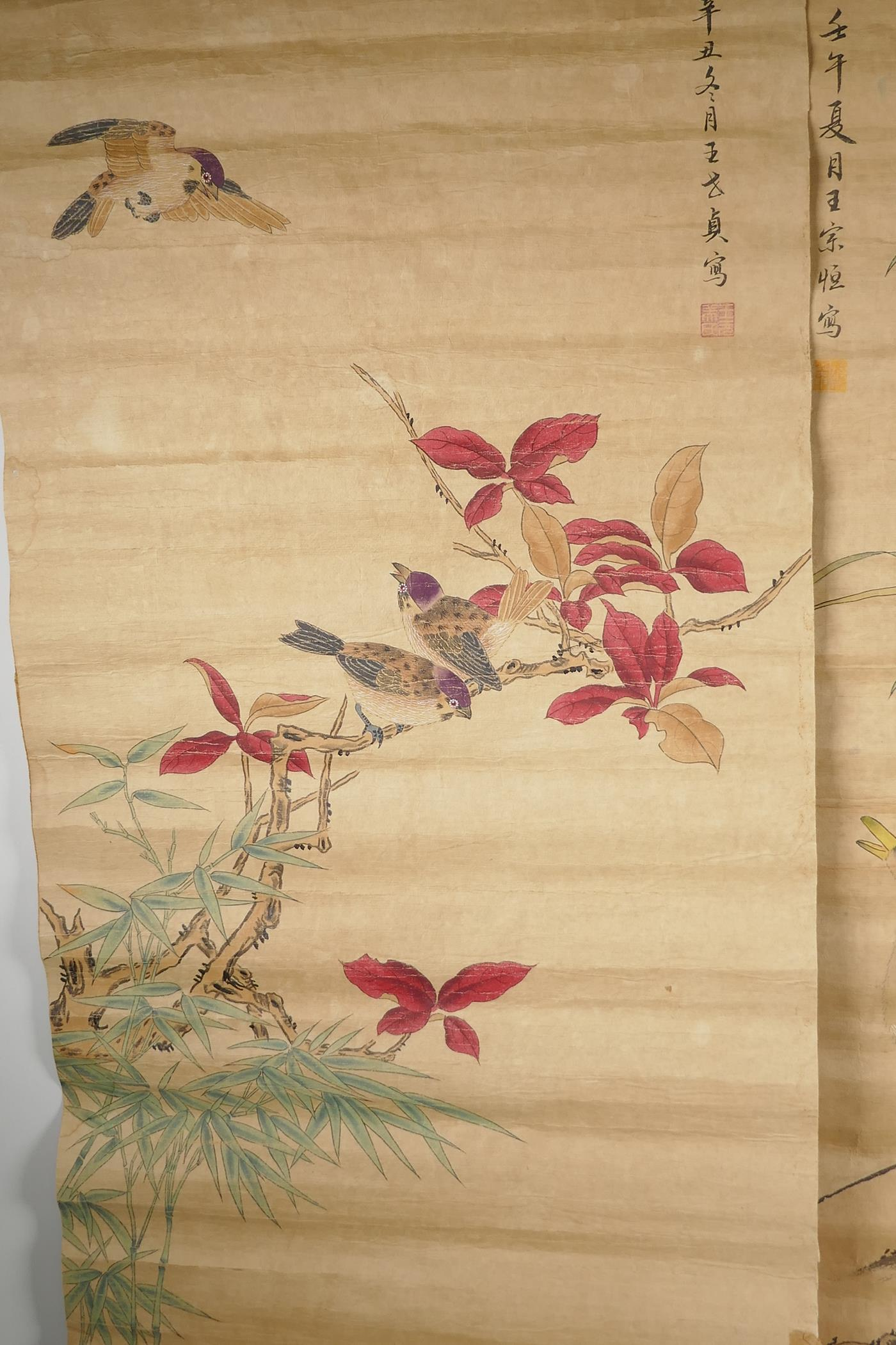 A Chinese watercolour scroll depicting waterfowl and flowers, and another similar with birds and
