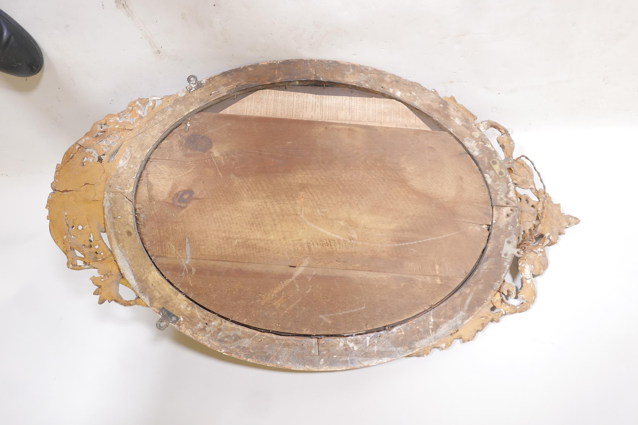 """A C19th giltwood and composition girondelle wall mirror with triple sconce, 37"""" x 23"""" - Image 5 of 5"""