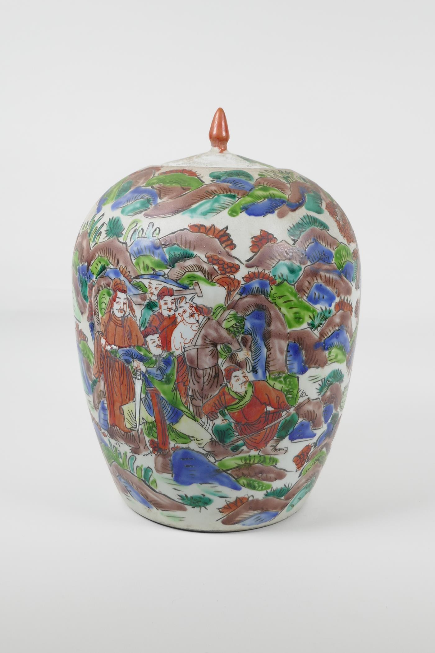 """A Chinese famille vert porcelain ginger jar and cover, decorated with a tiger hunting scene. 12"""" - Image 4 of 6"""