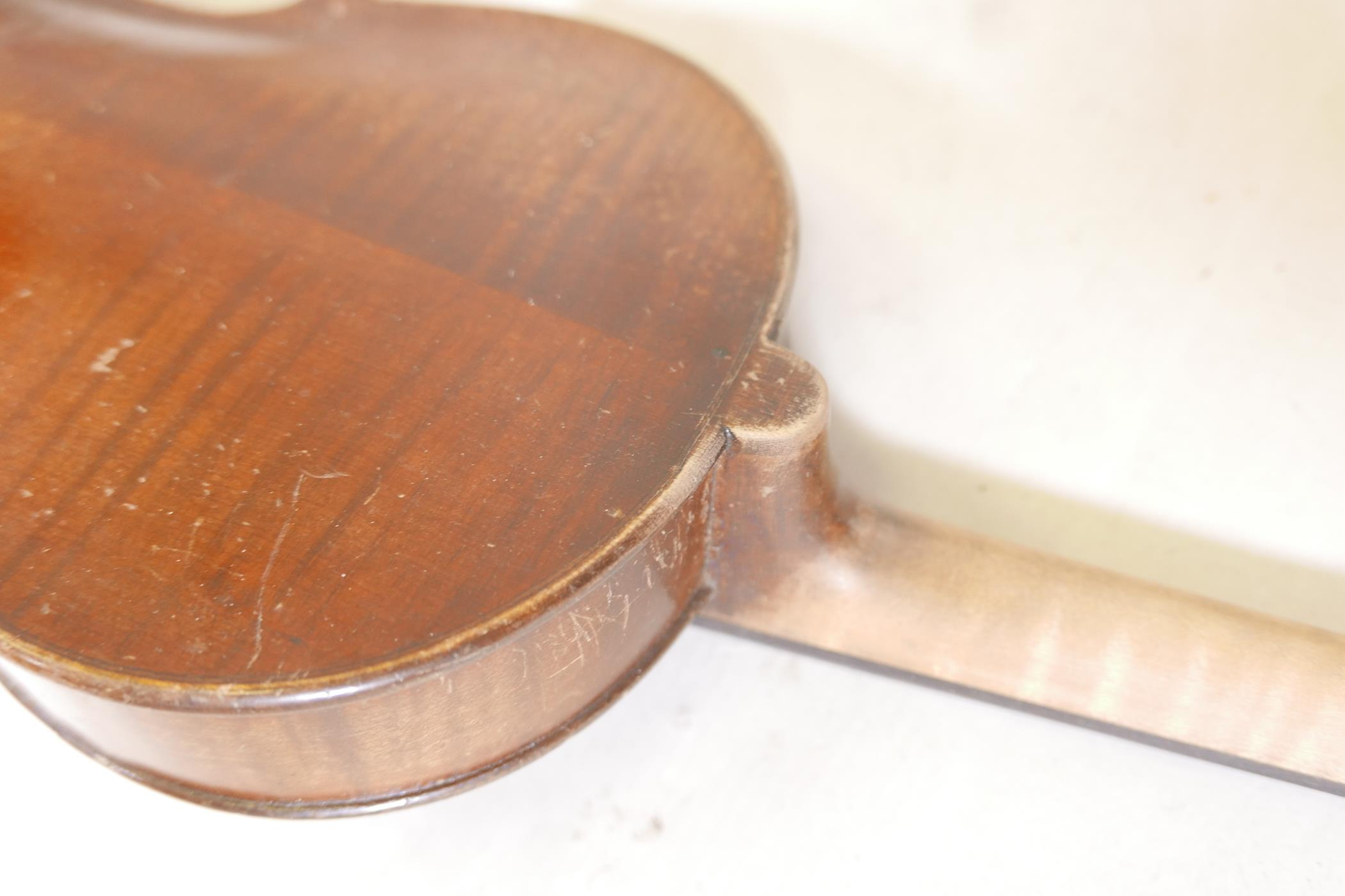 """A vintage violin and bow in case, 14½"""" back including button, 23½"""" long - Image 11 of 15"""