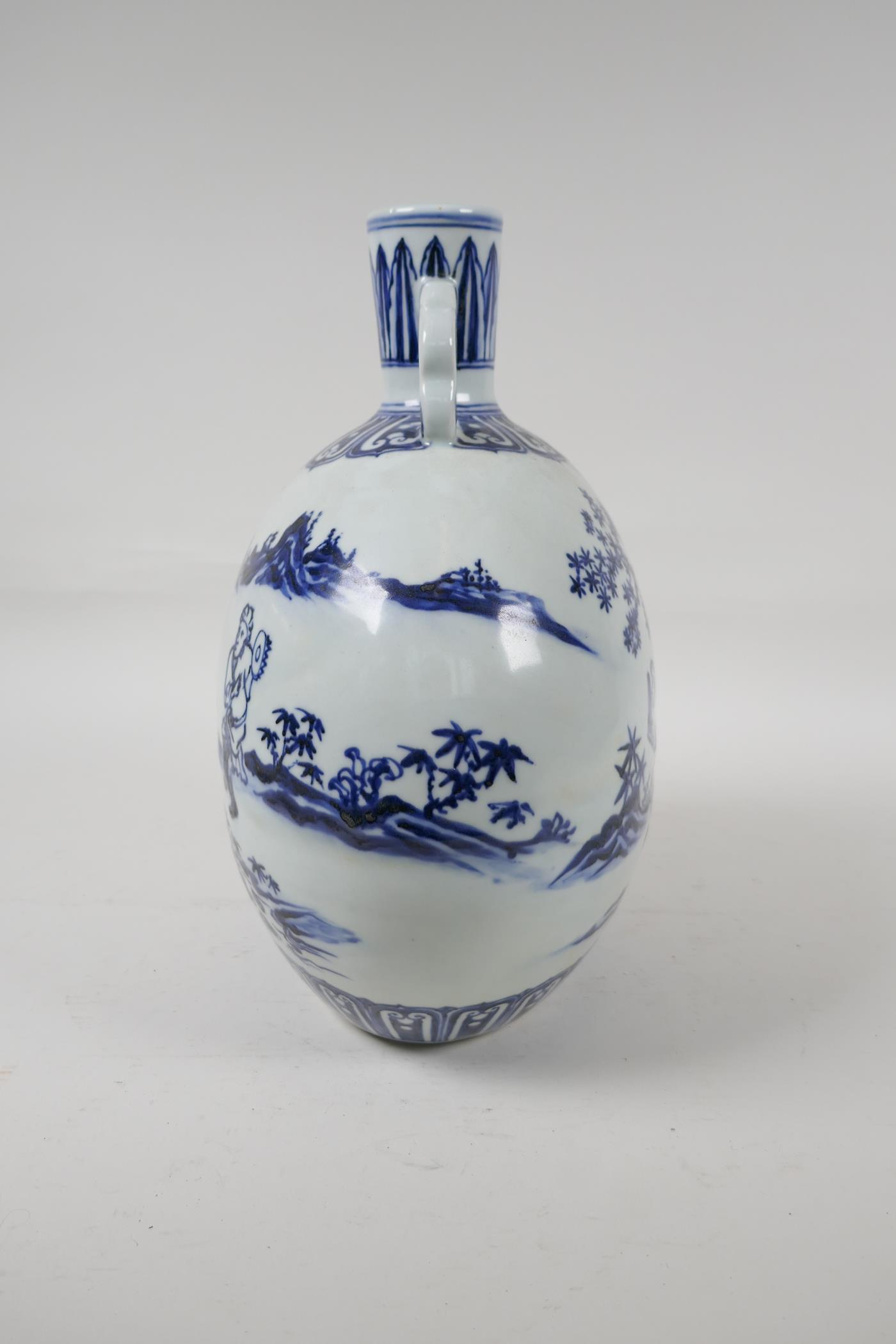 A blue and white porcelain two handled moon flask decorated with musicians in a landscape, Chinese - Image 3 of 5