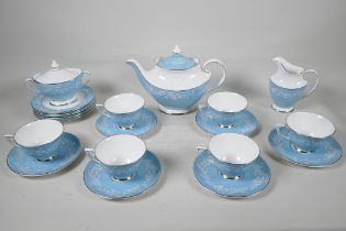 A Royal Doulton 'Alexandria' pattern six part tea service with teapot, milk jug and sugar bowl,