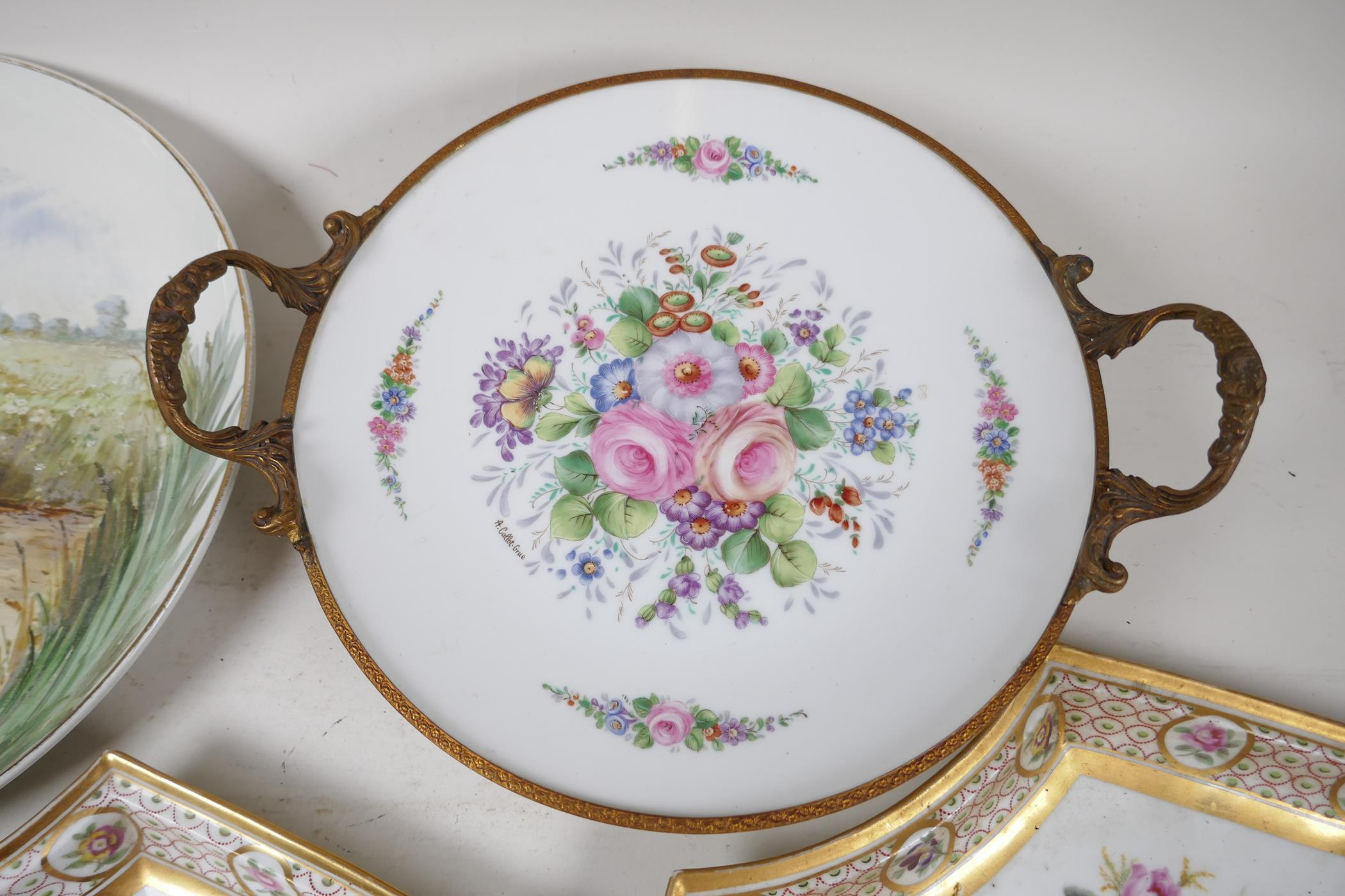 """A continental porcelain and ormolu tazza painted with flowers, 9½"""" diameter, together with a pair of - Image 5 of 6"""