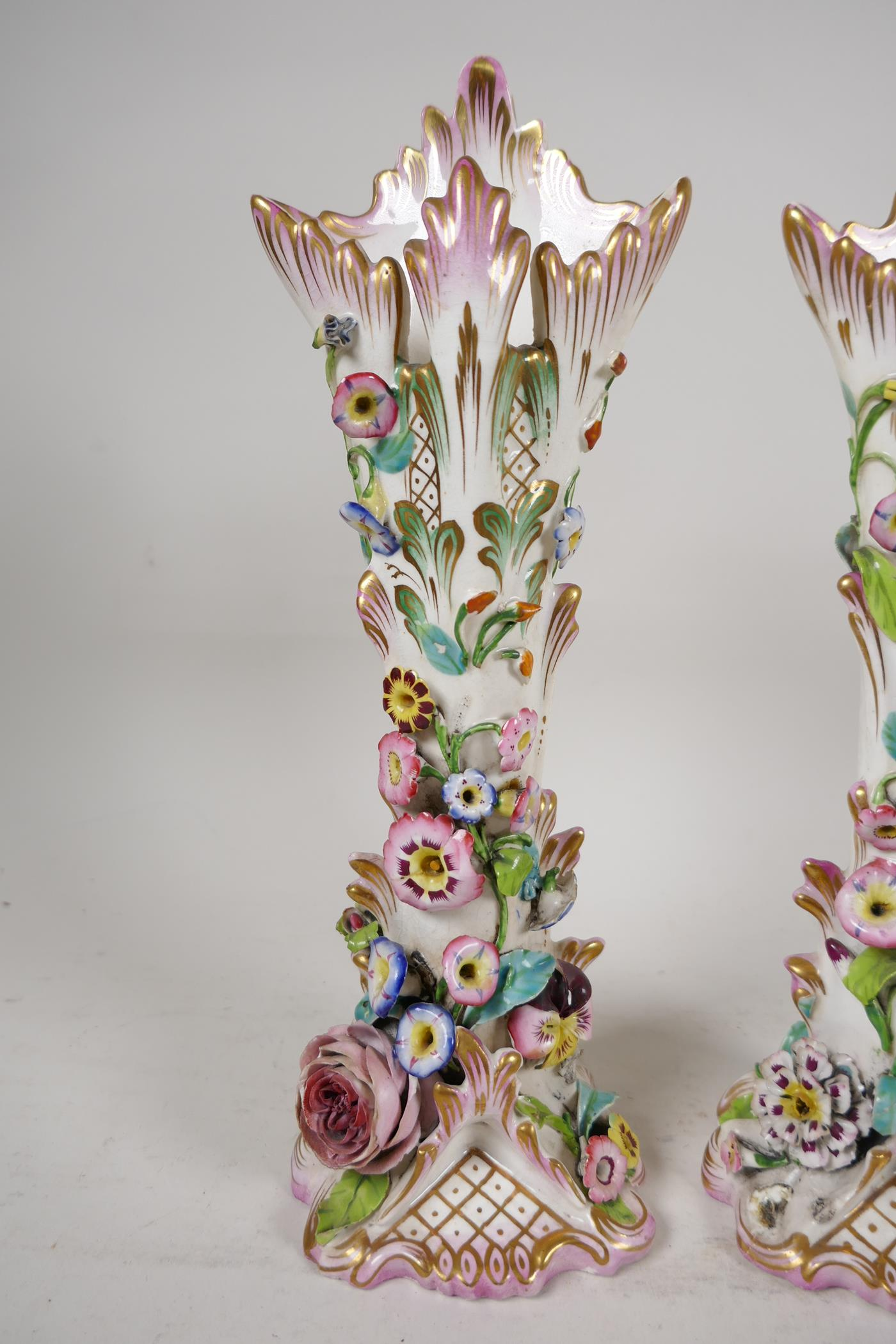 """A pair of C19th flower encrusted spill vases, A/F, 10"""" high - Image 2 of 4"""