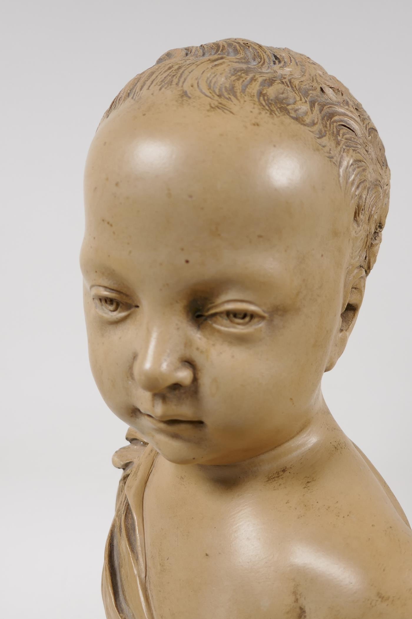 """A terracotta bust of a chld, after J.A. Houdon, 13"""" high - Image 4 of 6"""