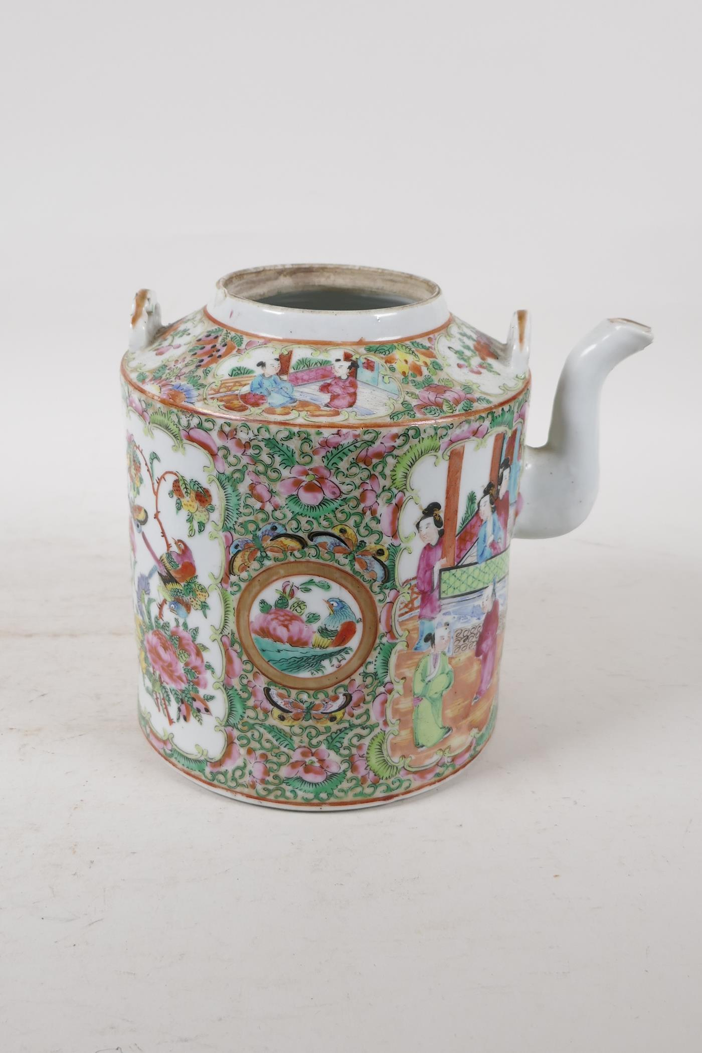 A Cantonese famille rose teapot decorated with figures, birds and flowers, A/F, and a republic - Image 6 of 7