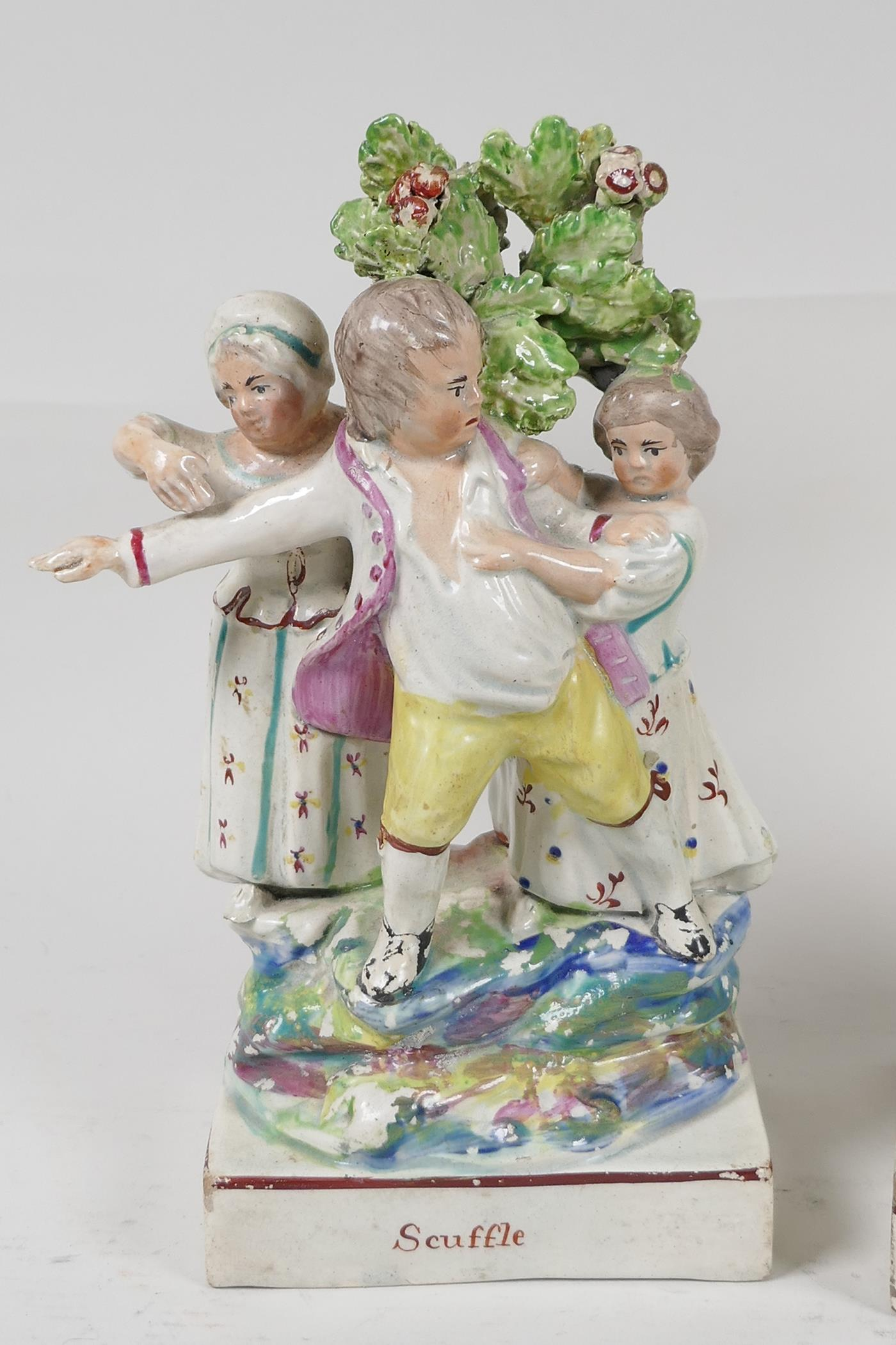 """Two C19th Staffordshire flat back brocage figures 'Rural Pastimes' and 'Scuffle', 7"""" high - Image 2 of 4"""