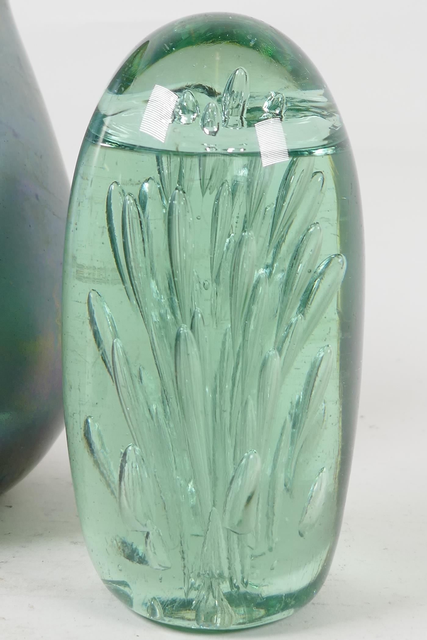 """An Art Nouveau studio glass vase decorated with enamelled lilies, 6"""" high, a lustre ware studio - Image 4 of 4"""