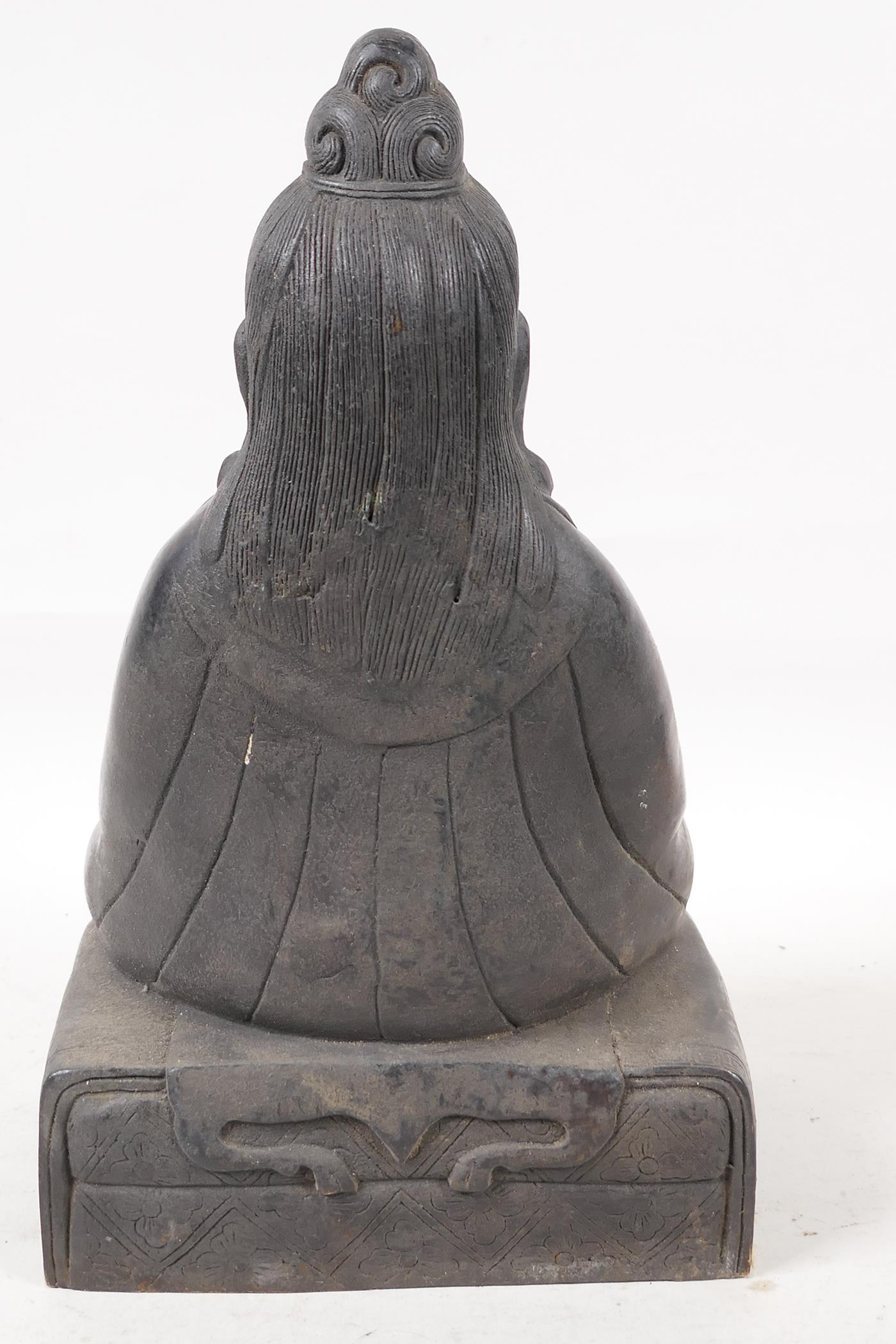 """A Sino Tibetan bronze figure of a deity seated in meditation, 11½"""" high - Image 3 of 4"""