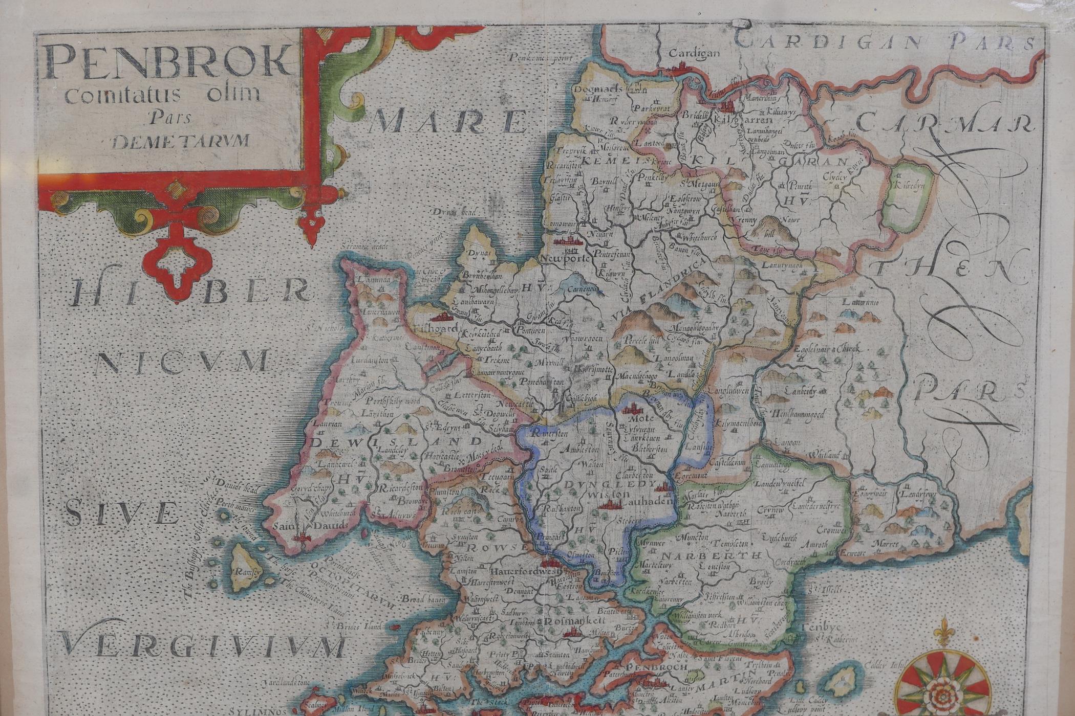 Wilhemus Kip, early C17th map of Pembroke (Pembrok) after surveys by George Owen, later hand