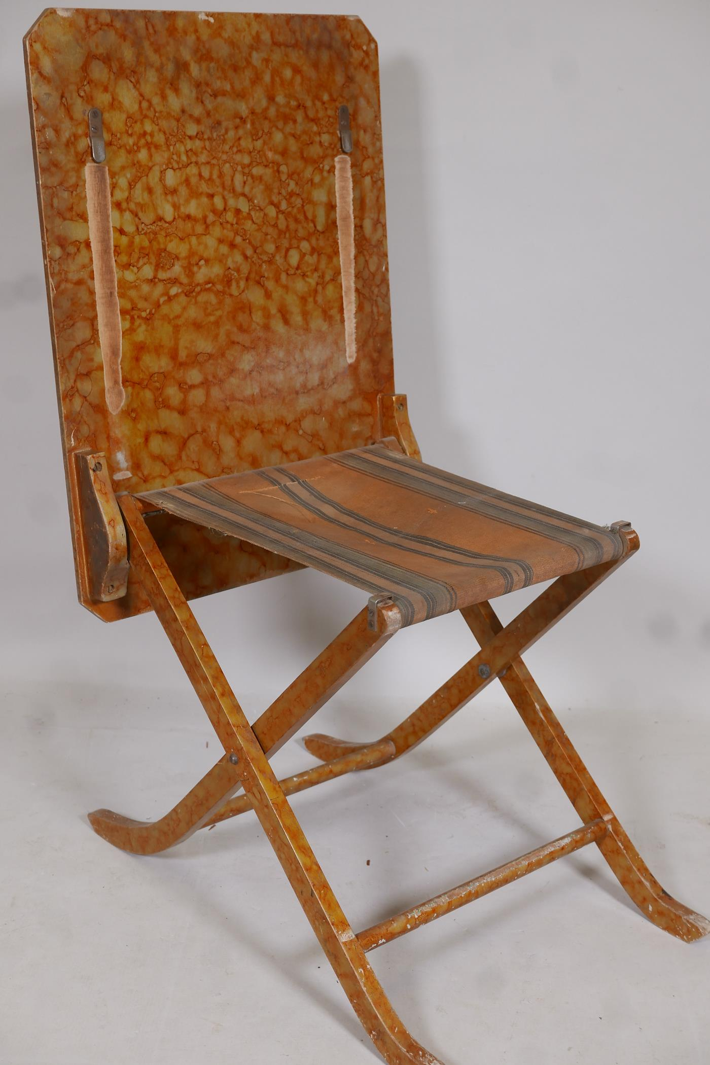 A metamorphic table/chair, early C20th, in original painted finish - Image 2 of 4