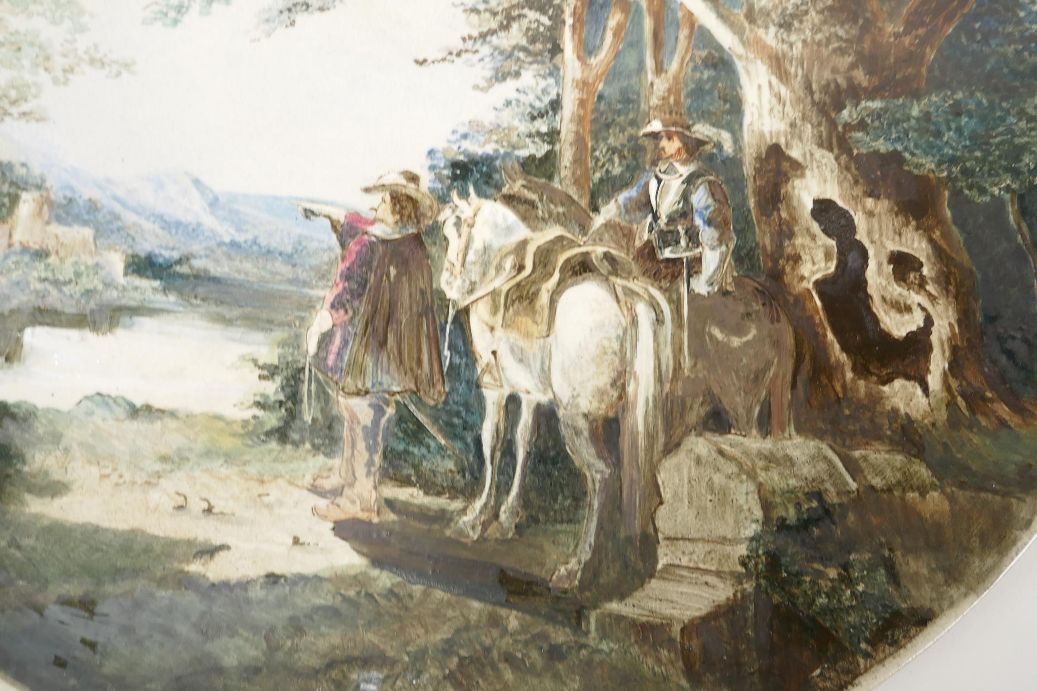 A large porcelain wall plaque painted with horsemen in a landscape, impressed Worcester Porcelain - Image 3 of 4