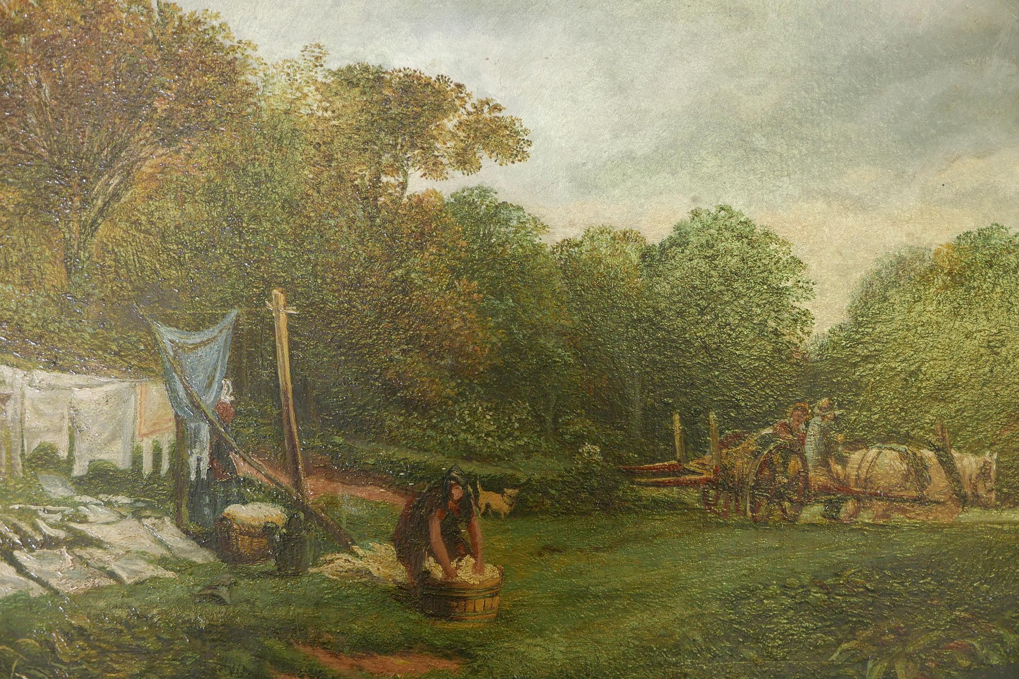 Samuel Bough, landscape with washer women, signed Sam Bough, oil on millboard