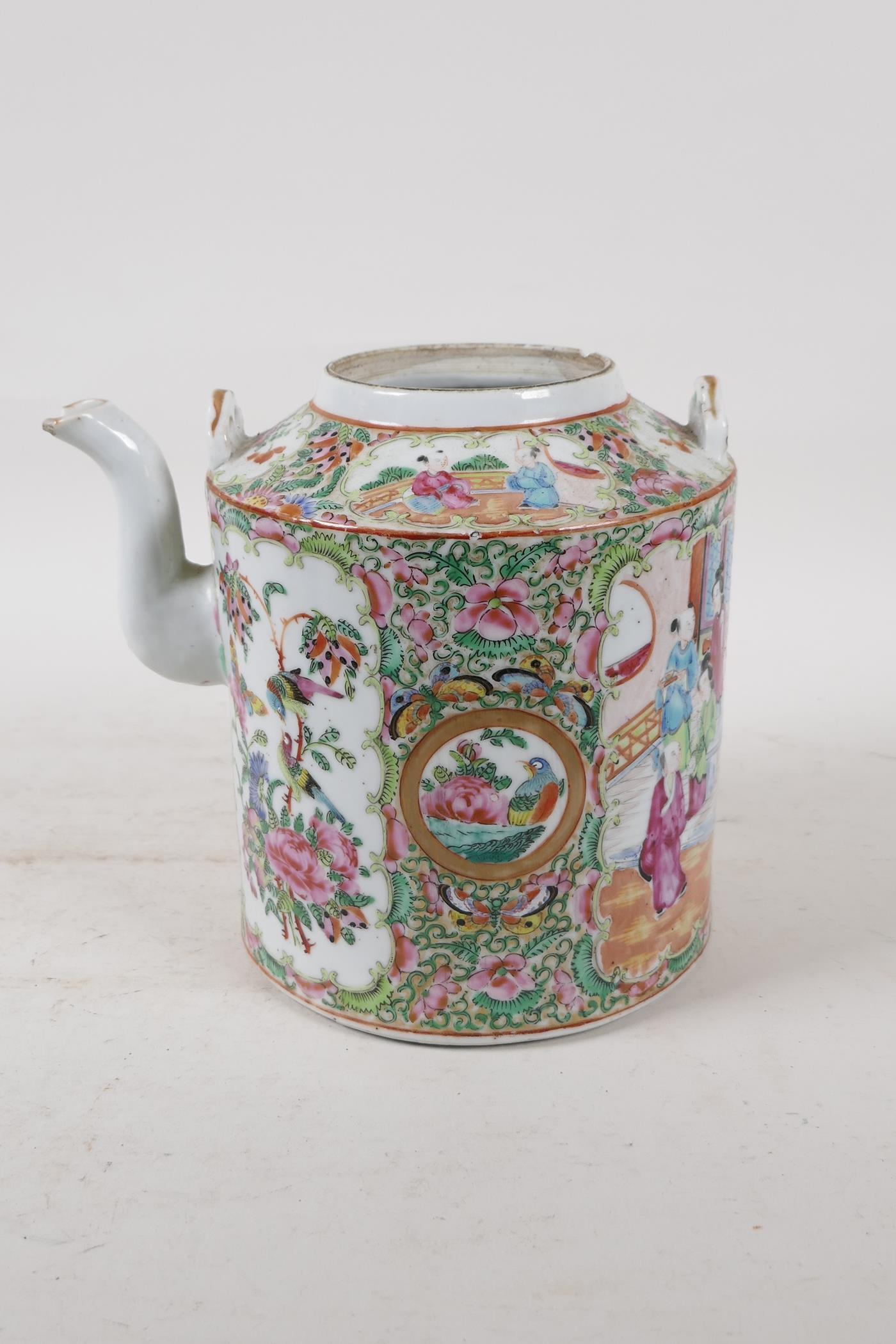 A Cantonese famille rose teapot decorated with figures, birds and flowers, A/F, and a republic - Image 5 of 7