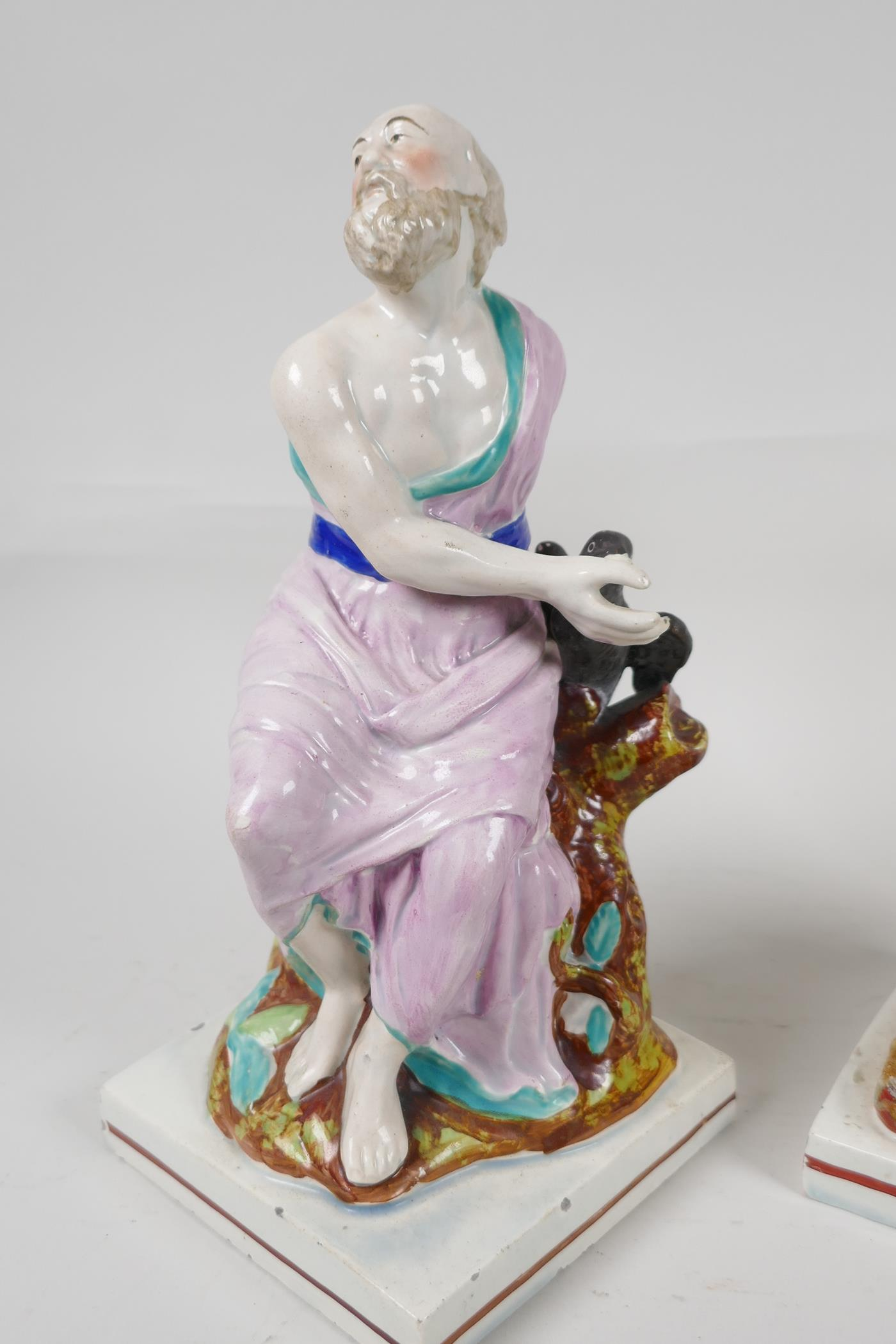 """A pair of C19th Staffordshire pottery figures, Elijah and the Widow, 9"""" high - Image 2 of 5"""