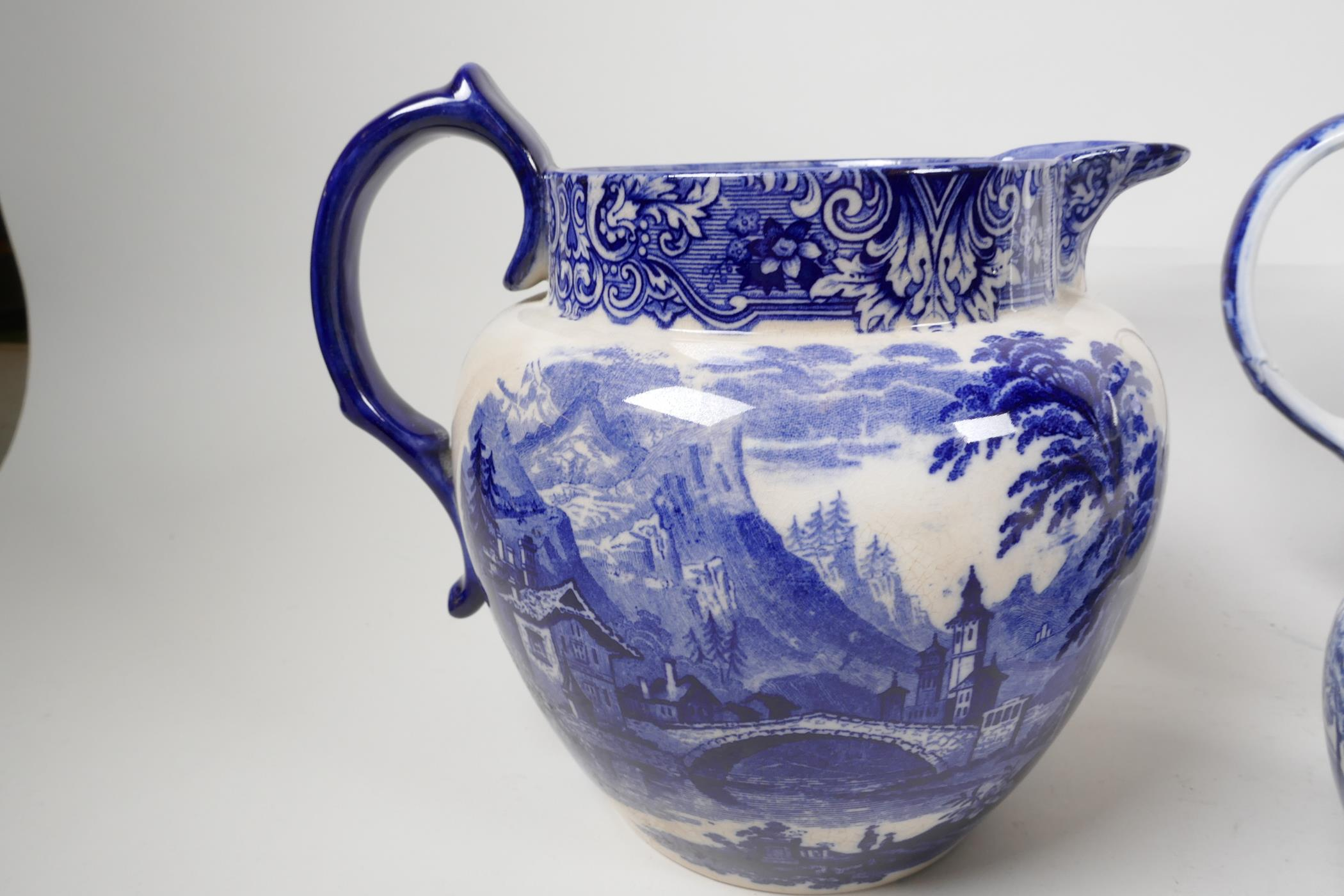 """Six blue and white transfer printed jugs and three gravy boats, various patterns, largest 6"""" high - Image 5 of 8"""
