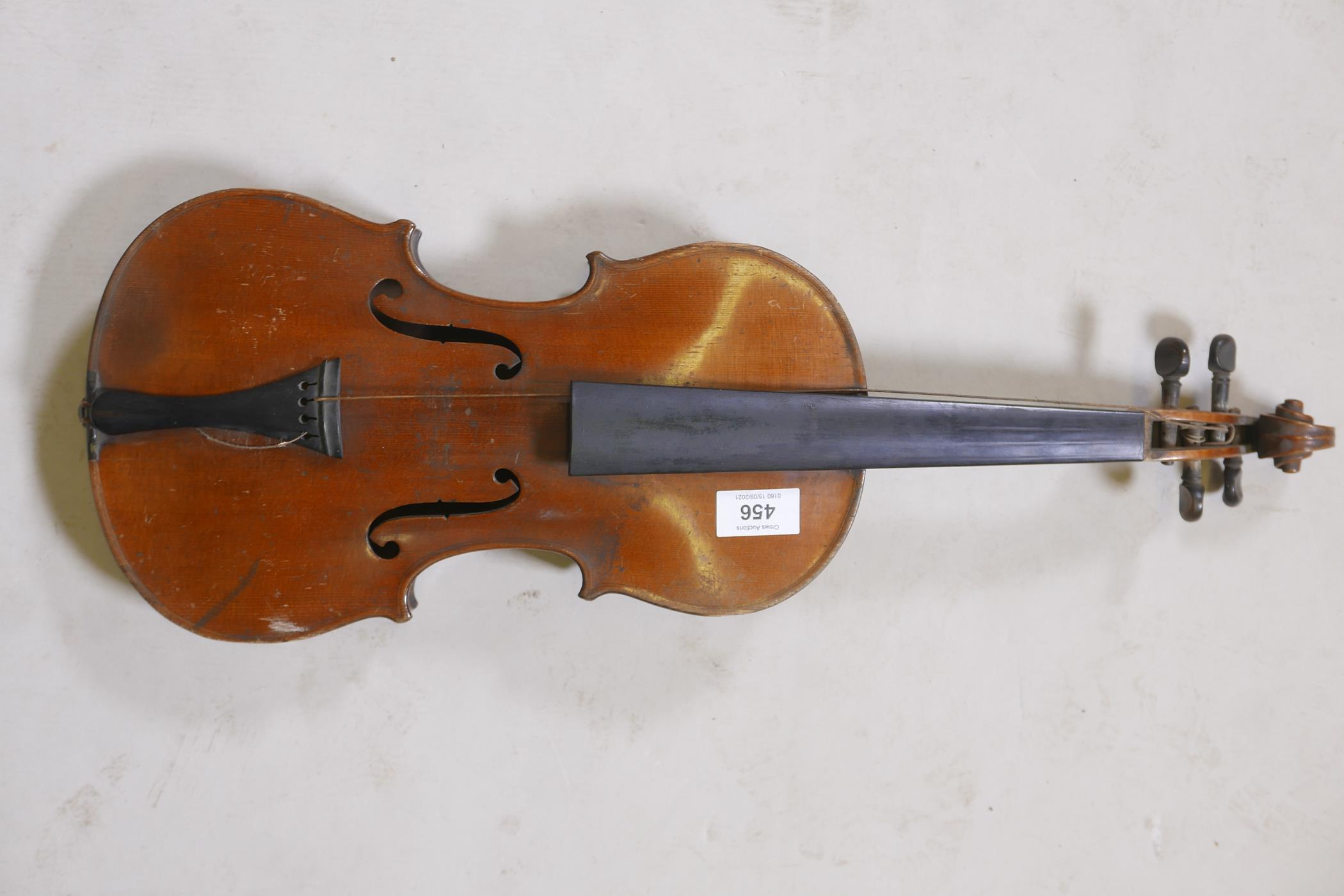 """An antique violin and bow in case, bears label Andreas Amati fecit, Cremonae anno 1604, back 14½"""" - Image 2 of 14"""