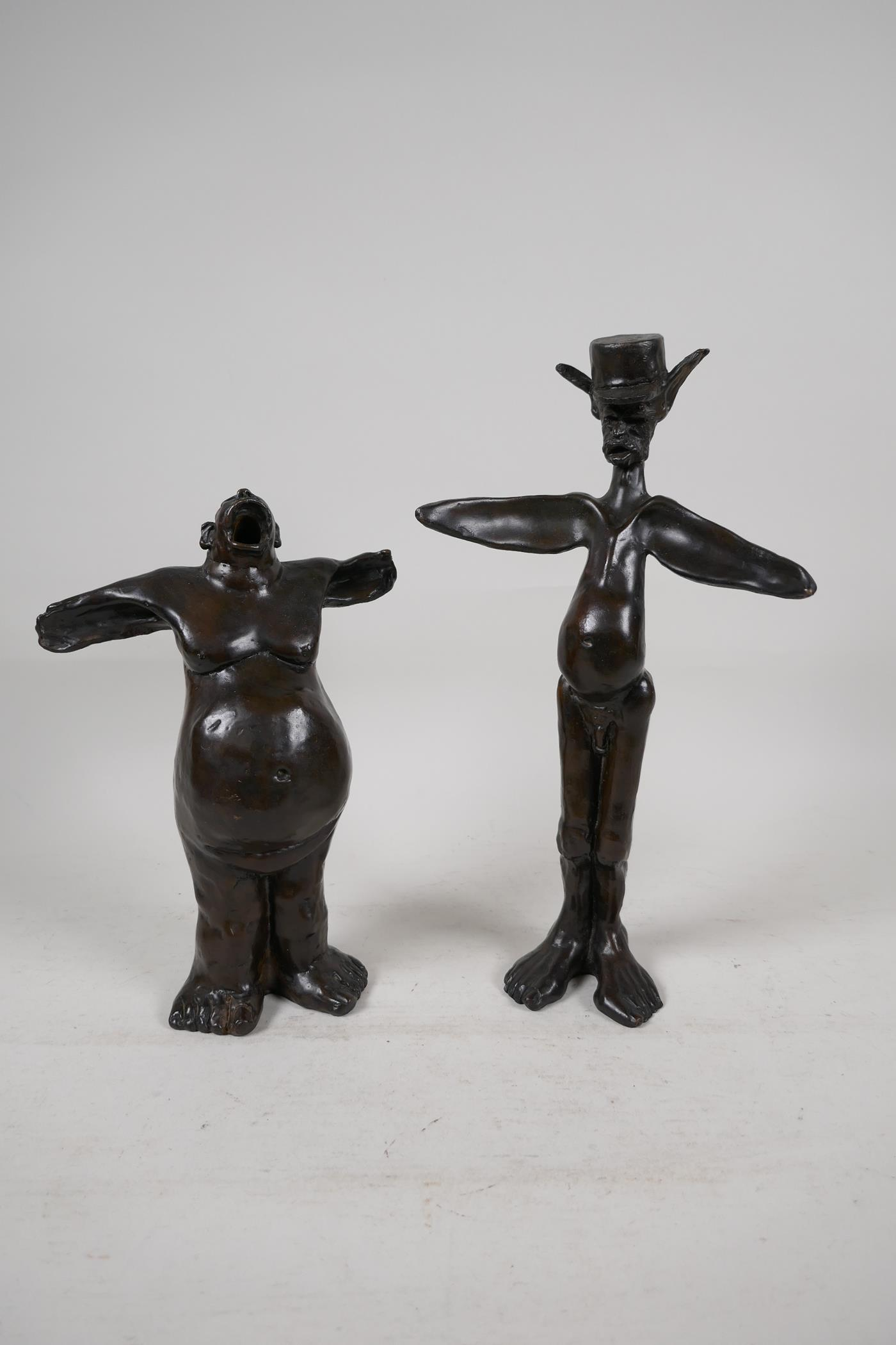 """Two Guido Mariani contemporary bronze figures, signed, tallest 10"""""""