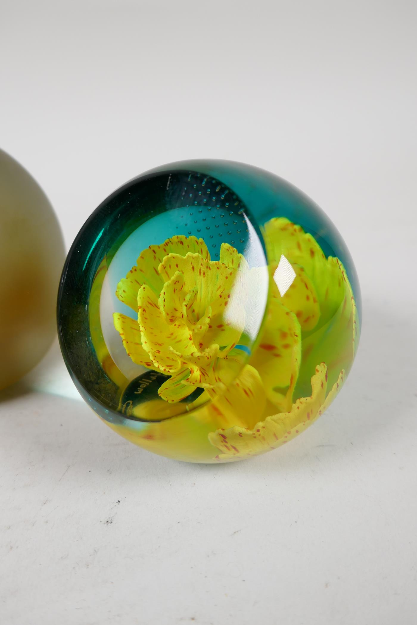 A 1930s Scottish floral glass paperweight by Salvador Ysart, a Caithness yellow carnation glass - Image 5 of 7