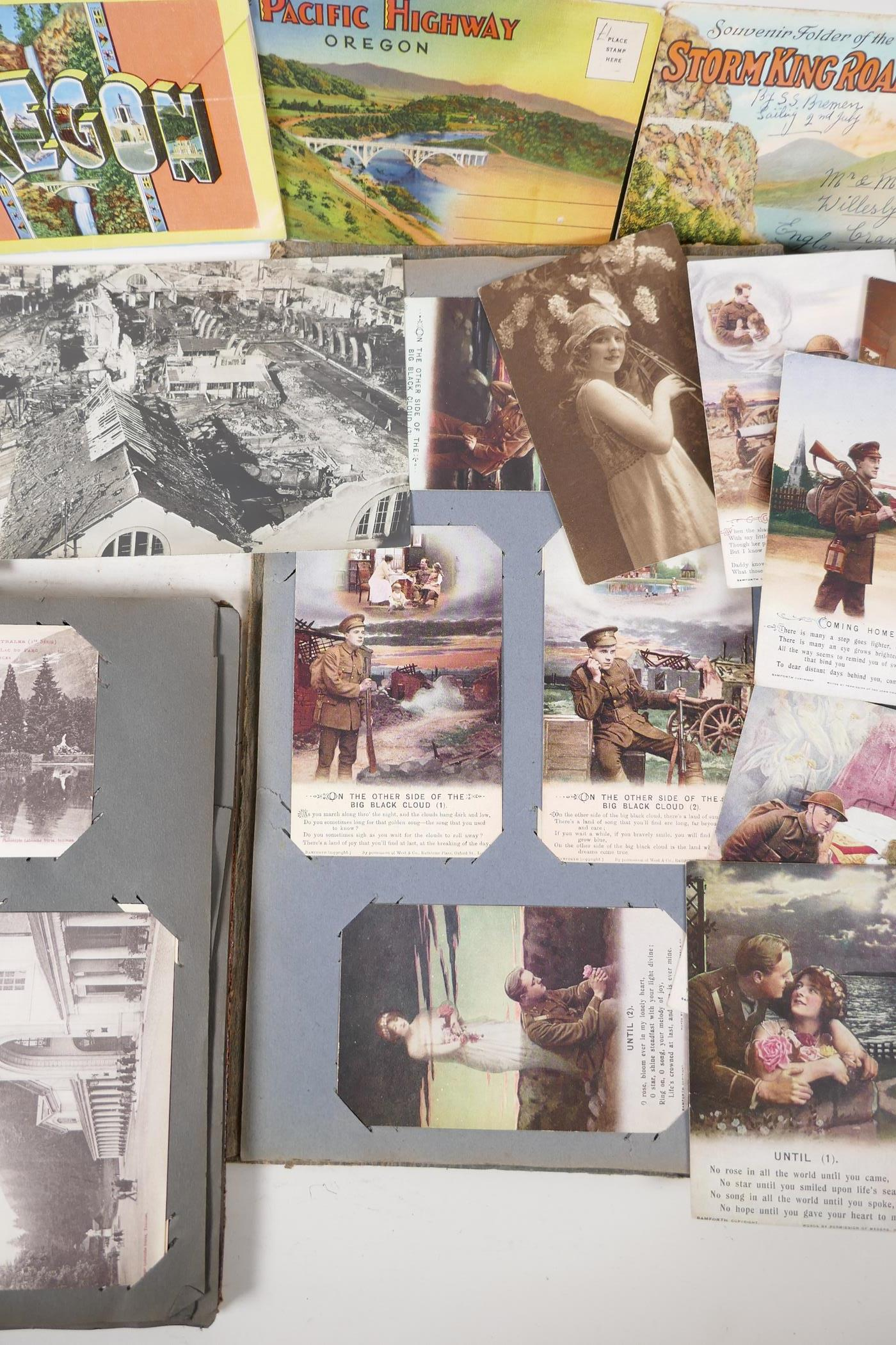 A quantity of C20th postcards, mostly WWI sweetheart cards, and French topographical, and a - Image 3 of 7