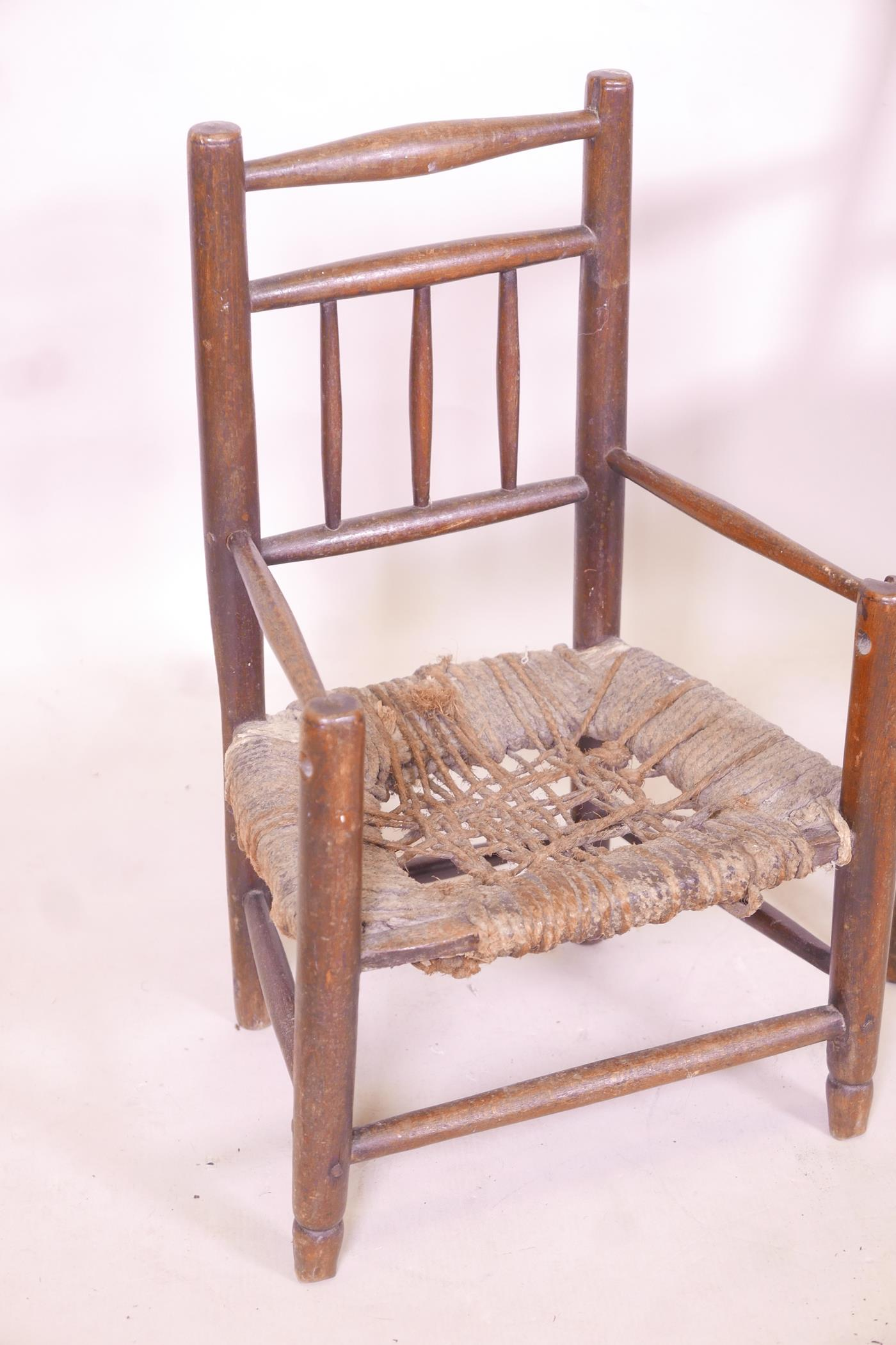 A child's William Morris style rush seated elbow chair, and another smaller - Image 3 of 3