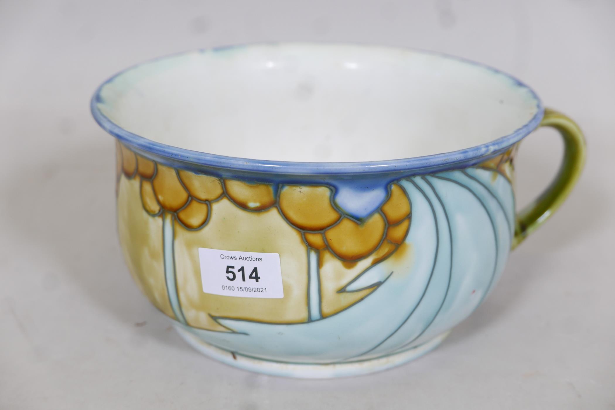 "A Minton succesionist chamber pot, 9"" diameter"