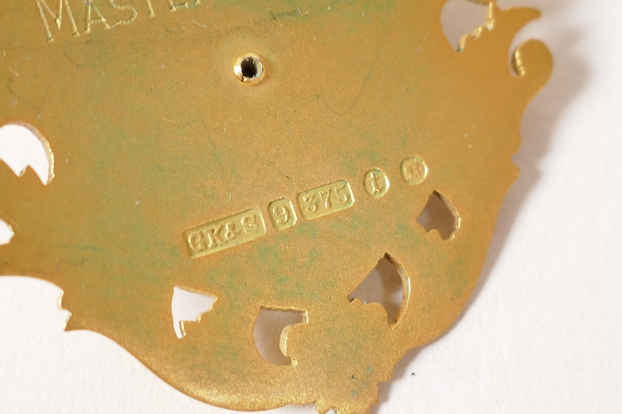 A 9ct gold and enamel medal for the position of Post Master of the Billingsgate Word Club, with - Image 4 of 4