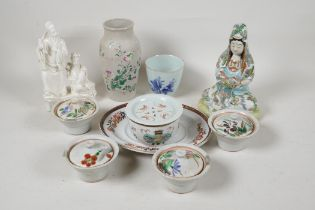 """A Chinese porcelain figure of Guan Yin seated in meditation, 6½"""" high, and a quantity of oriental"""