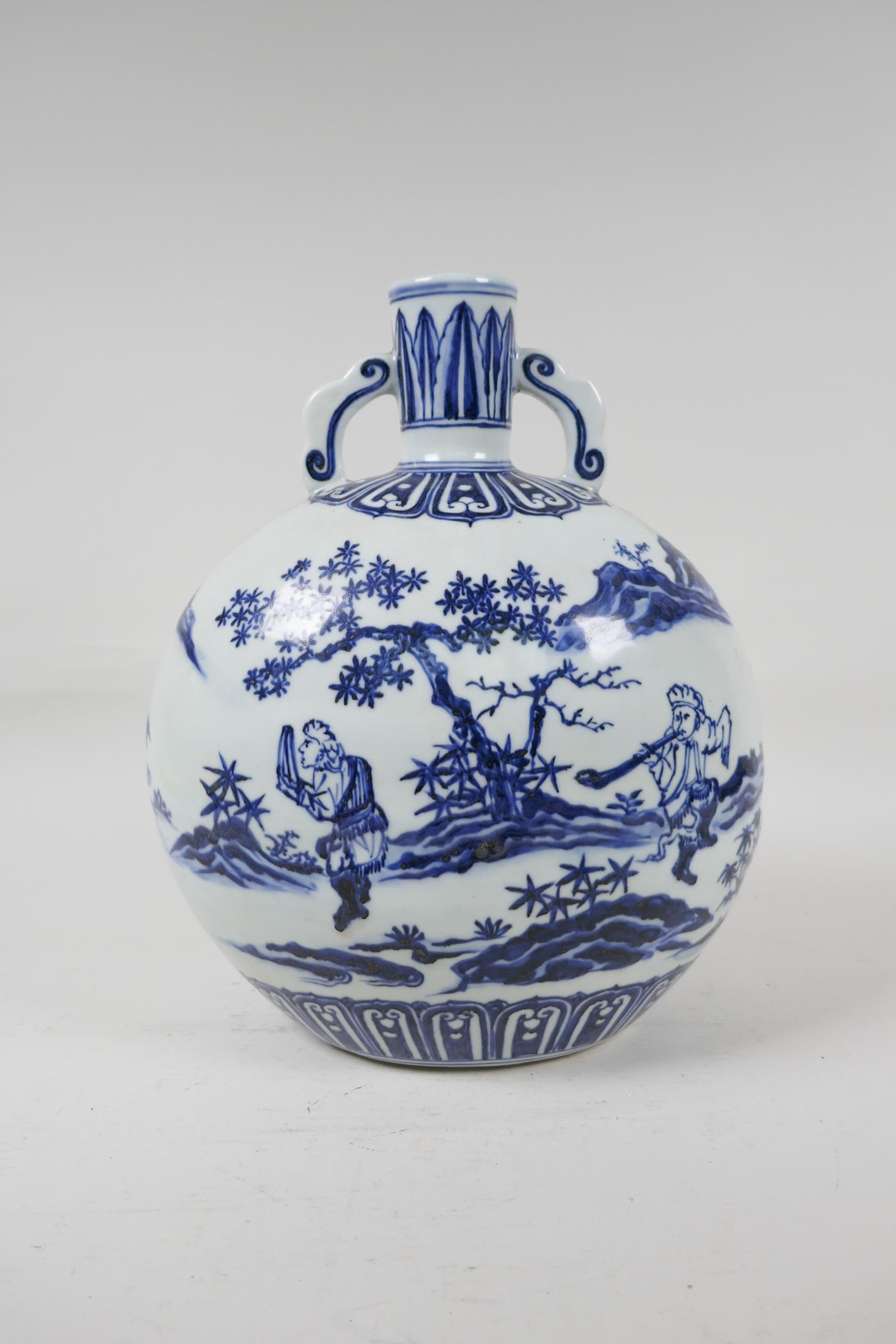 A blue and white porcelain two handled moon flask decorated with musicians in a landscape, Chinese