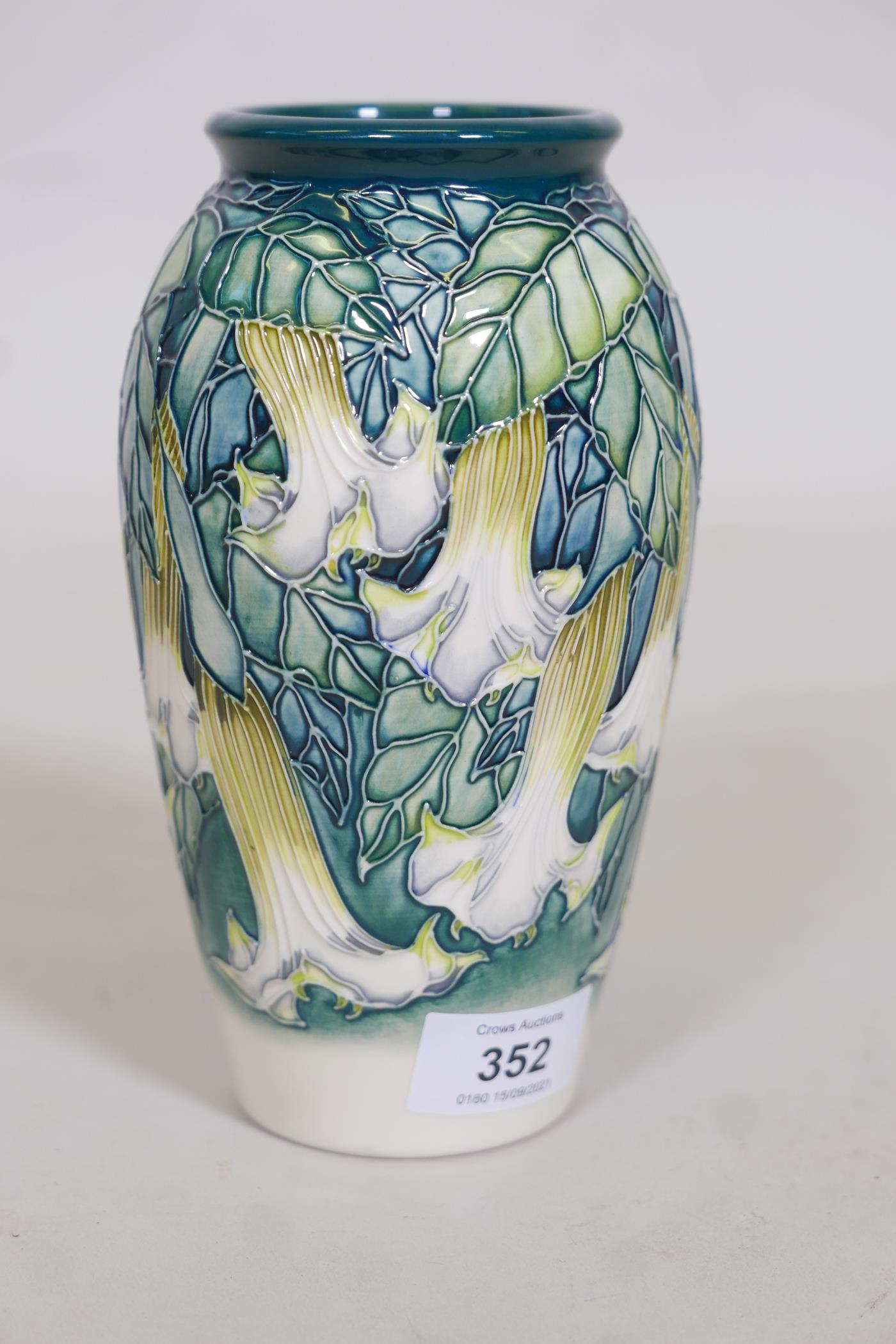 A Moorcroft vase 'Angels Trumpet' by Anji Davenport, stamped to base, 98, Moorcroft Collectors Clubs - Image 3 of 4