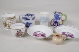 """A C19th presentation tankard dated 1850 together with two lustreware dishes, 6"""" diameter, a"""