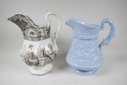 """A C19th Ridgways pottery water jug, embossed with a tavern scene, 11""""high, together with a"""