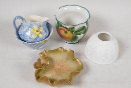 """A Royal Worcester lily pad pin tray, 5"""" diameter and a Wemyss vase painted with apples, both A/F,"""