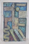 """A mid C20th painted plaster plaque in the Troika style, unsigned, 19"""" x 31"""""""