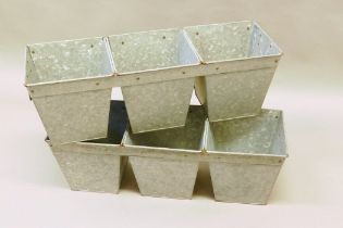 """A pair of galvanised metal three section garden planters, 27"""" long"""