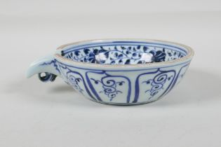 """A Ming style blue & white porcelain water pourer, with lotus flower decoration, Chinese, 5½"""""""
