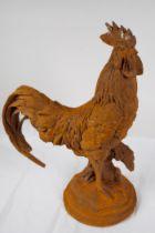 """A cast iron garden figure of a cockerel, 17"""" high"""