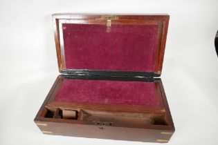 A C19th brass bound mahogany writing box, with fitted interior & secret drawers, (for