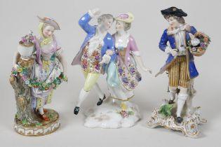 "Three C19th Continental porcelain figurines, 7"" high, A/F"