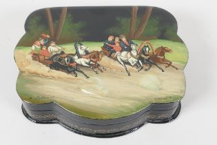 """A Russian papier mache trinket box, the cover painted with two families in Troika's, 5½"""" wide x 4½"""""""