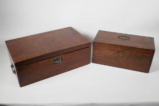 """A C19th mahogany writing box for restoration, 16"""" x 9½"""" x 6"""", together with a C19th rosewood two"""