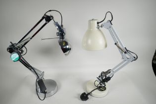 Two contemporary angle poise lamps